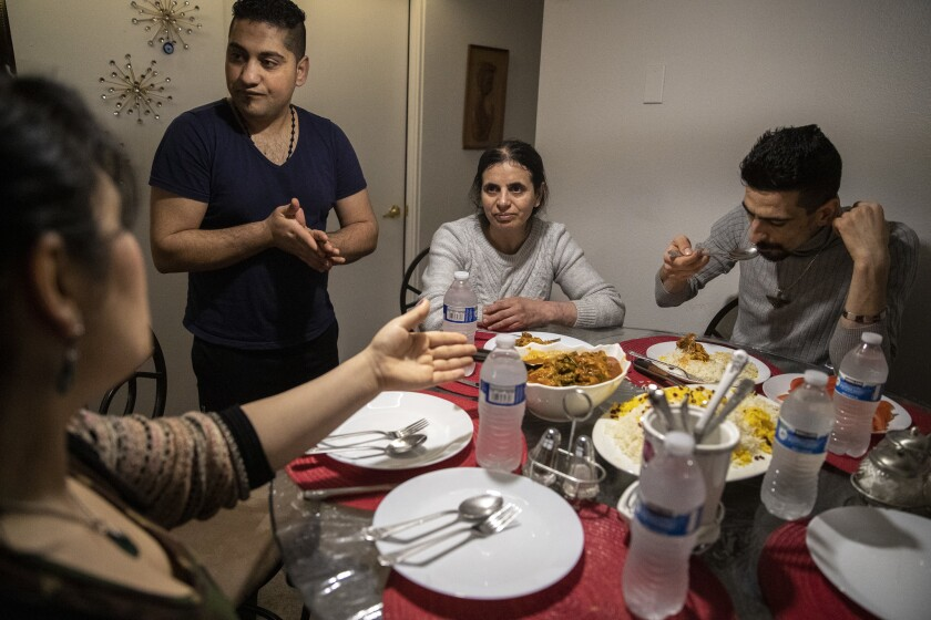 SEATTLE, WASH. -- WEDNESDAY, FEBRUARY 6, 2019: Iranian refugees Sirvan Moradi, 24, right, and his a