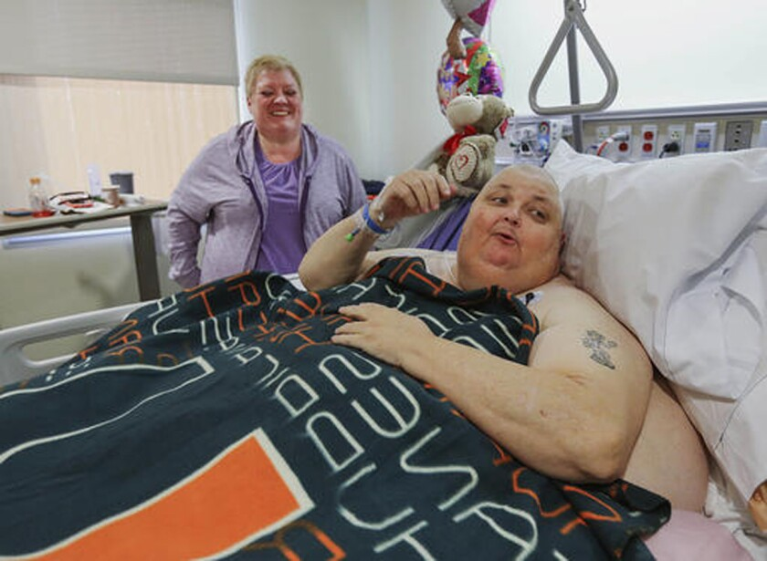Roger Logan, seen here on Feb. 2, 2017, with wife, Kitty, had a 130-pound tumor removed.
