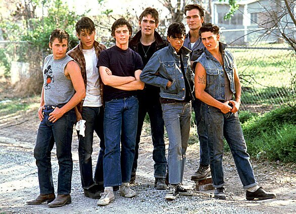 """Patrick Swayze is shown with other cast members of the 1983 Warner Bros. film """"The Outsiders,"""" directed by Francis Ford Coppola. From left are Emilio Estevez, Rob Lowe, C. Thomas Howell, Matt Dillon, Ralph Macchio, Swayze and Tom Cruise."""