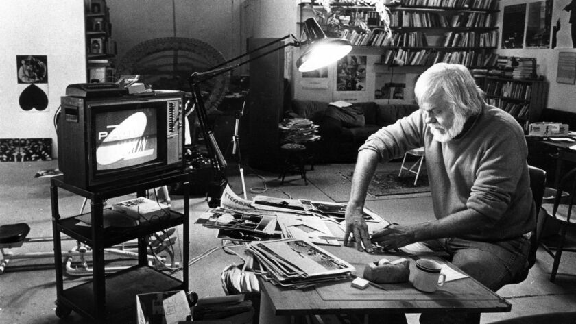 Artist John Baldessari working in his Santa Monica studio in 1986.