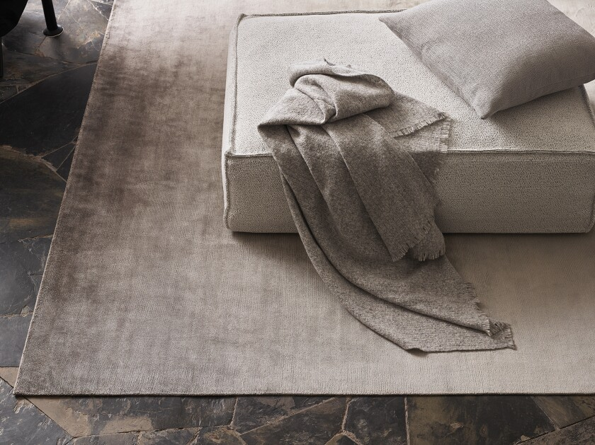 The 100 percent silk Ombre rug from Rosemary Hallgarten is available at the Thomas Lavin showrooms.