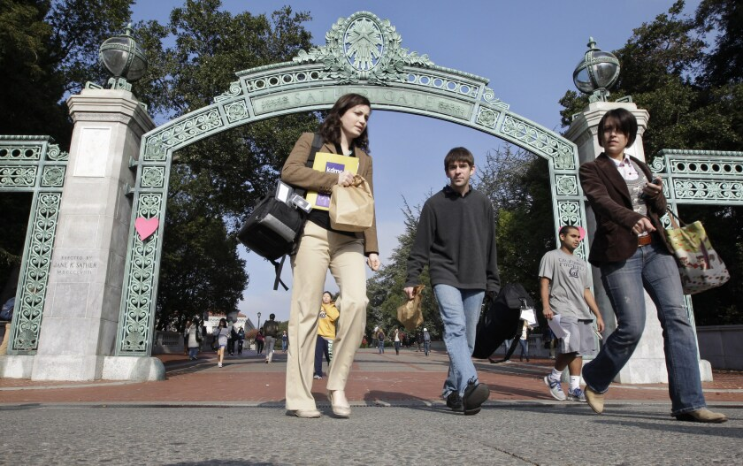 Students walk through Sather Gate on the UC Berkeley campus.