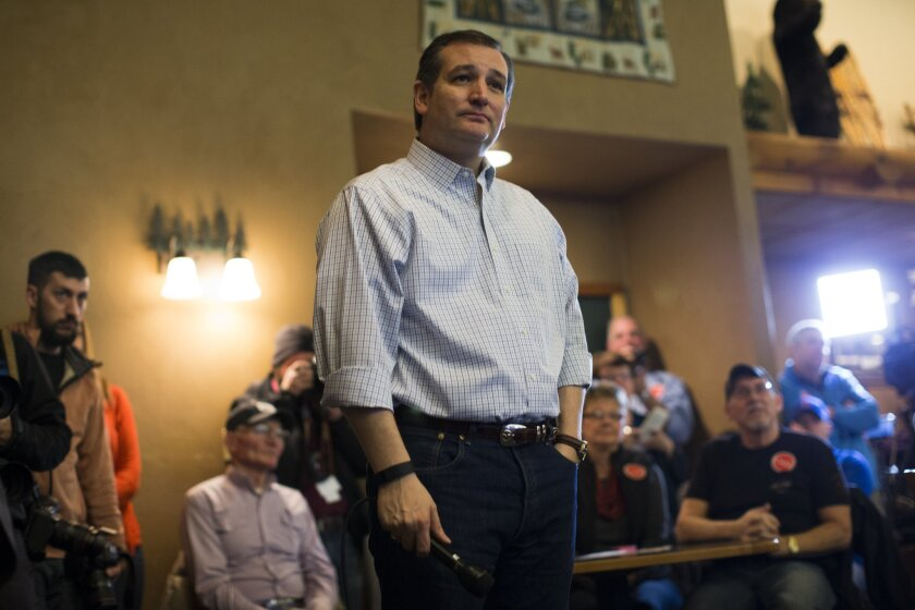 Republican presidential candidate Sen. Ted Cruz campaigns in Manchester, Iowa.
