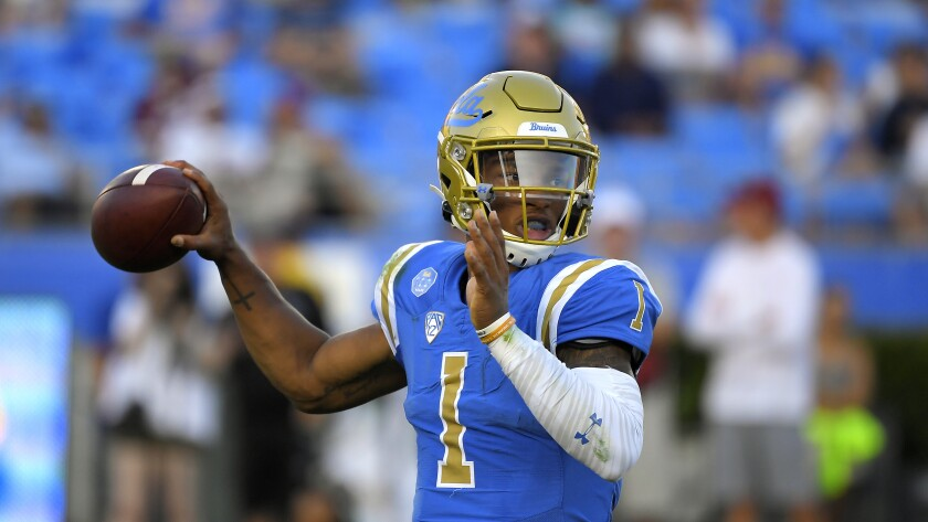 UCLA quarterback Dorian Thompson-Robinson passes during the first half against Oklahoma on Saturday at the Rose Bowl.