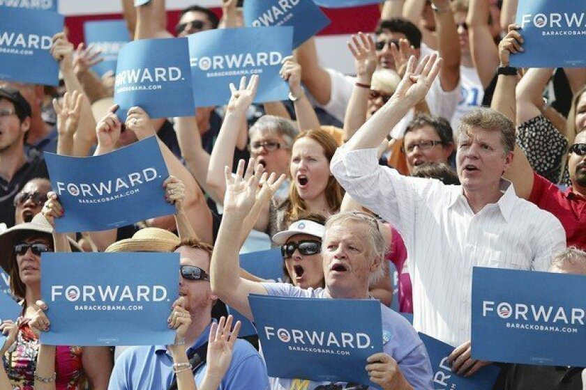"""Supporters shout """"four more years"""" as President Obama speaks at St. Petersburg College in Florida."""