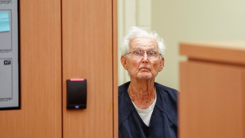 Richard Peck, 92, at his Friday arraignment on a murder charge. A San Diego Superior Court judge on Tuesday lowered Peck's bail. Peck is accused of shooting his sleeping son, Robert Peck, 51.