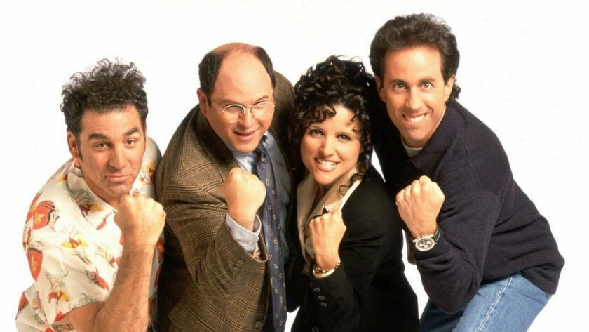 """Michael Richards, from left, Jason Alexander, Julia Louis-Dreyfus and Jerry Seinfeld weren't the only stars to come out of """"Seinfeld,"""" which turns 30 today."""