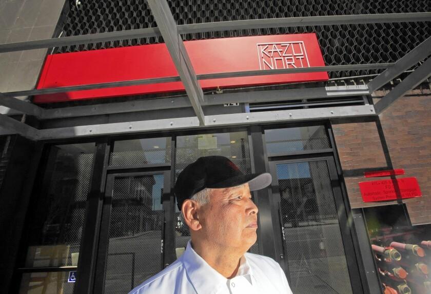 Sushi chef Kazunori Nozawa visits his new restaurant, the Sugarfish offshoot KazuNori in downtown Los Angeles.