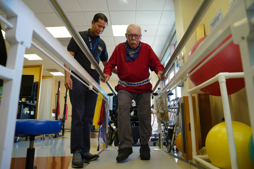 Gene Montague, 77, a resident at Edgemoor Hospital received a physical therapy treatment from Thien Ngo on Thursday, October 10, 2019. Montague has been a resident at the felicity for almost two-years.