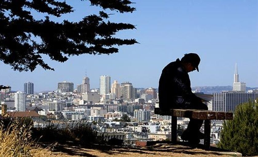 """August Kleinzahler, the bad boy of American poetry, sits in a hillside park near his home in San Francisco. He dismisses university writing programs as """"multimillion-dollar Ponzi schemes"""" in which Volvo-driving poet-professors are too fearful of risking prizes or promotions to make waves.More photos >>>"""