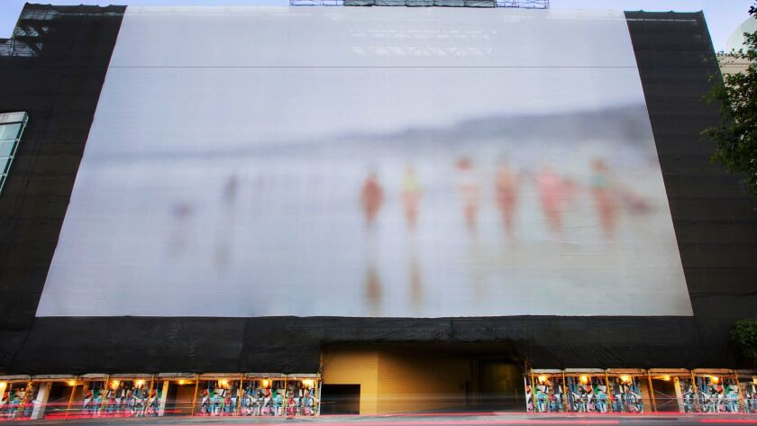"""Catherine Opie's purposefully blurry """"Untitled Beach Day #2,"""" which has since come down."""