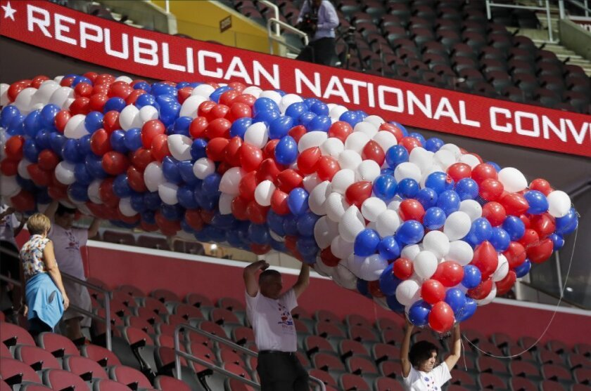 Workers prepare Friday for next week's Republican National Convention at the Quicken Loans Arena in Cleveland.