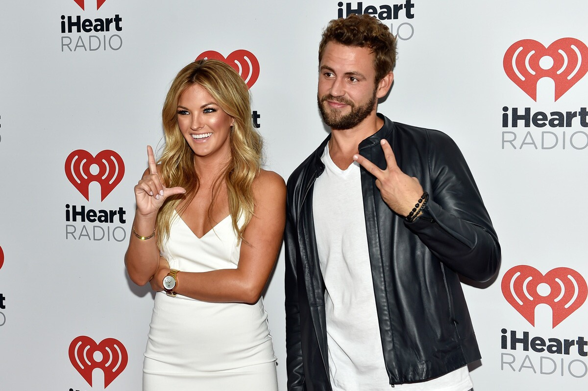 Two-time contestant on The Bachelor Becca Tilley (left) with current bachelor Nick Viall at the 2015 iHeartRadio Music Festival at MGM Grand Garden Arena in Las Vegas. (David Becker/Getty Images for iHeartMedia)