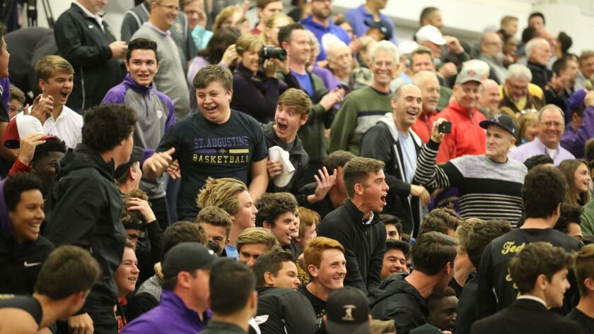 St. Augustine students and fans cheer on their team against Foothills Christian in Friday's San Diego Section Open Division quarterfinals.
