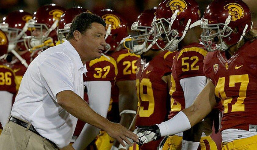 USC Interim Coach Ed Orgeron before a game at the Coliseum.