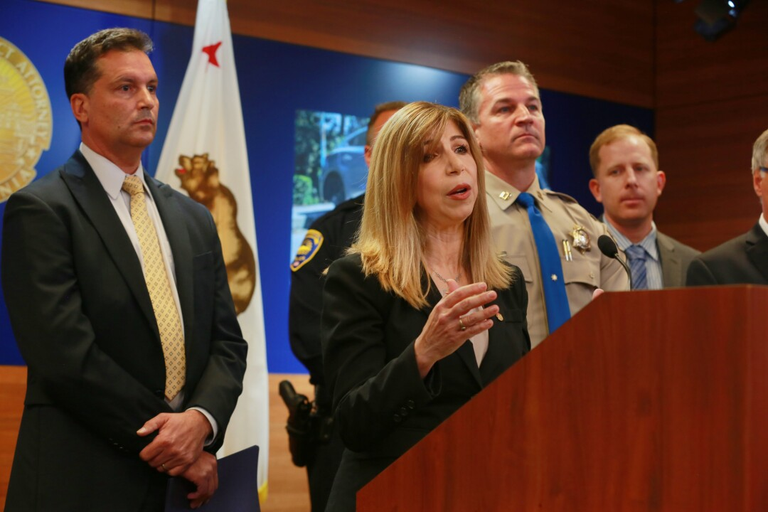 San Diego, CA. USA December 01, 2016 | At the podium Thursday, Deputy District Attorney Summer Stephan introduces the results of an undercover investigation in which detectives bought stolen vehicles, drugs and weapons. At left is Special Agent-in-Charge John D'Angelo of Alcohol, Tobacco and Firearms, and to the immediate right of Stephan is California Highway Patrol Captain Don Goodbrand, the RATT Commander. The Regional Auto Theft Team (RATT), in cooperation with the La Mesa Police Department, San Diego County Sheriff's Department, the California Highway Patrol and the Bureau of Alcohol, Tobacco and FIrearms, conducted a 10-month undercover operation that resulted in 42 grand jury indictments. The defendants face various felony charges including vehicle theft, identity theft, illegal weapons possession and illegal drug possession and sales. Operation Kwik Boost was launched in January of this year and netted 117 stolen cars valued at $1.3 million, 51 firearms, five and a half pounds of methamphetamine, three kilos of cocaine and 15 pounds of marijuana. | Mandatory photo credit: Peggy Peattie / San Diego Union-Tribune