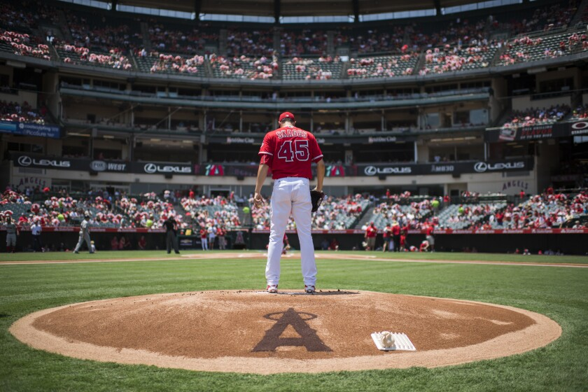 Angels pitcher Tyler Skaggs prepares to warm up before a game against the Boston Red Sox in 2016.