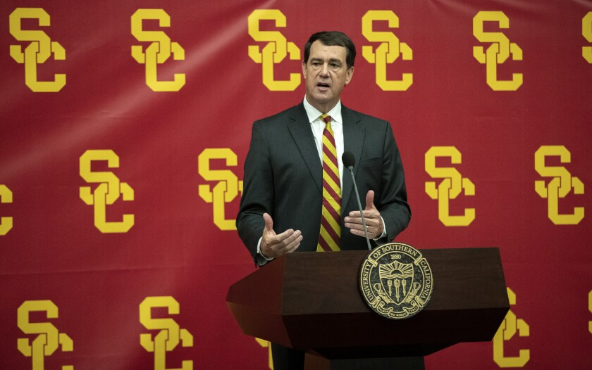 USC athletic director Mike Bohn speaks during a news conference in November.