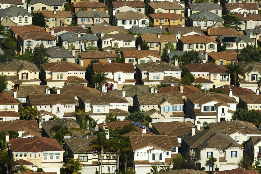 Homes are lined up near Carmel Valley.