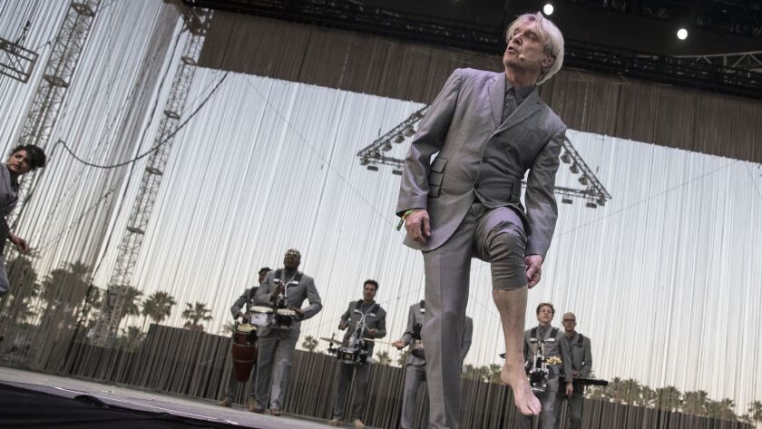 INDIO, CALIF. -- SATURDAY, APRIL 14, 2018: David Byrne on stage at the Coachella Valley Music and Ar