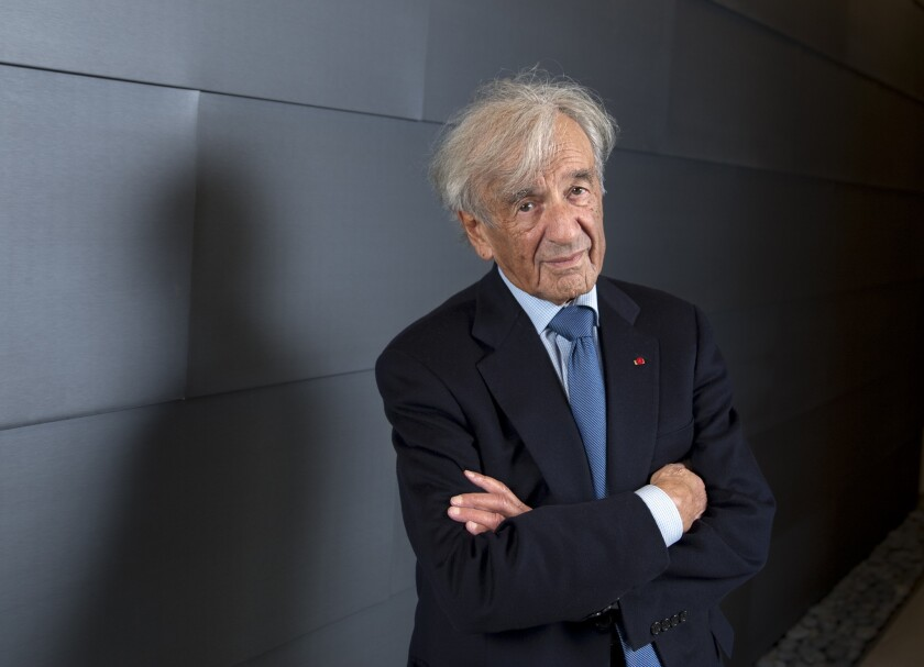 Elie Wiesel, a Distinguished Presidential Fellow at Chpaman University in Orange, is shown there in 2013.