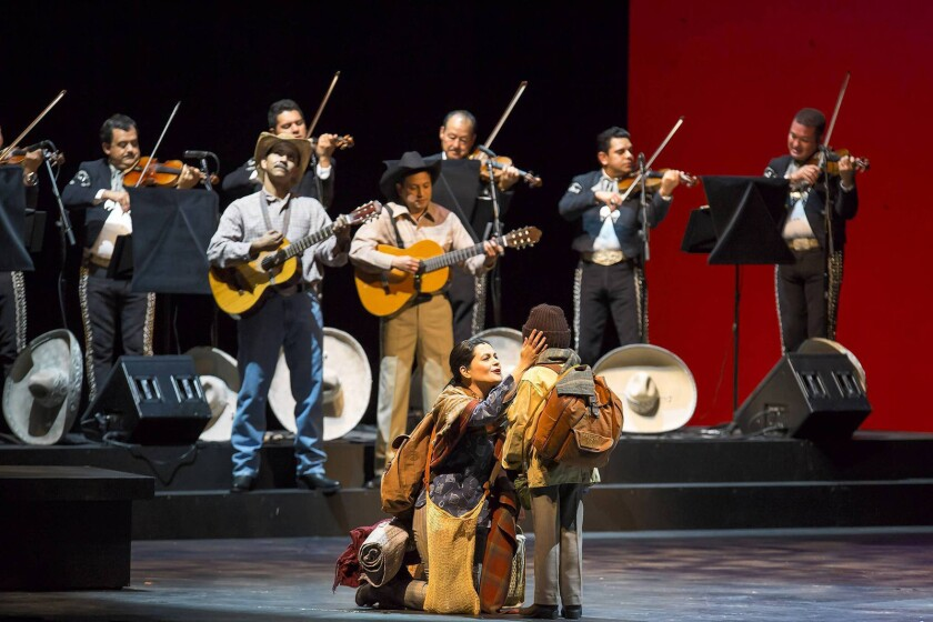 """Mariachi Vargas will headline Saturday's fourth annual San Diego International Mariachi Summit Gala Concert. The photo above was taken during a performance of the band's musical, """"Cruzar la Cara de la Luna"""" (""""To Cross the Face of the Moon"""")."""