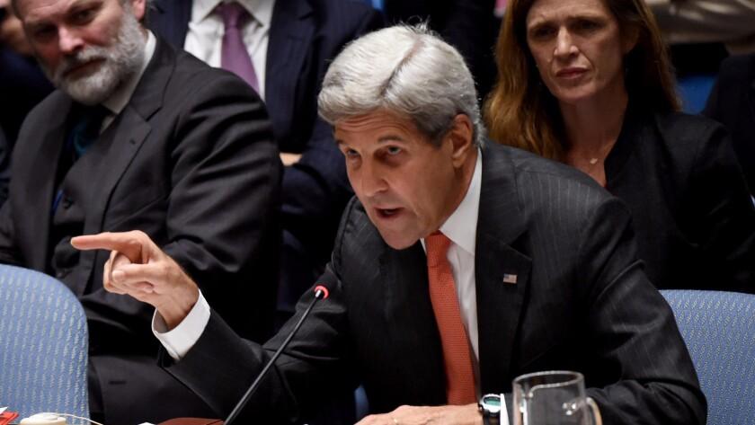 U.S. Secretary of State John F. Kerry speaks about the situation in Syria during a Security Council meeting at the United Nations in New York on Wednesday.