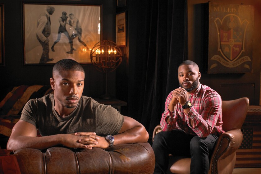 "Neither actor Michael B. Jordan, left, nor director Ryan Coogler was Oscar-nominated for ""Creed."" Coogler will be elsewhere on award night but is said to have told nominated actor Sylvester Stallone to attend."