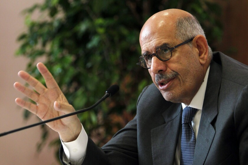 "Mohamed ElBaradei, seen at a 2011 news conference in Estoril, Portugal, resigned as Egypt's vice president Wednesday. ""Those who want to crush the Brotherhood accuse me of being soft. I don't believe my concern over the loss of lives makes me a soft man,"" ElBaradei said in a recent television interview."