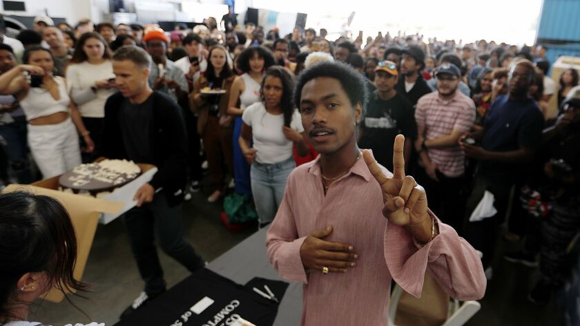 COMPTON, CALIF. - MAY 24, 2019. R&B guitarist Steve Lacy arrives for a record release party of his f