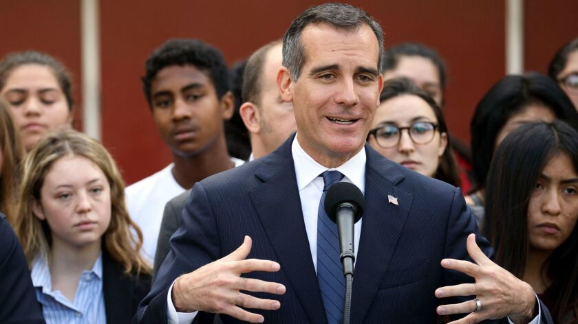 L.A. Mayor Eric Garcetti speaks to students in Boyle Heights on Monday about deportation fears under a Trump administration.