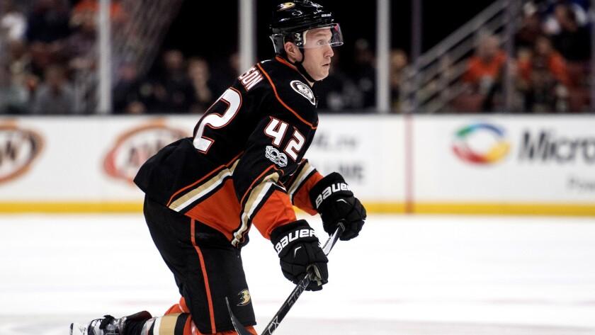 Anaheim Ducks defenseman Josh Manson during the second period of an NHL hockey game Wednesday, Nov.