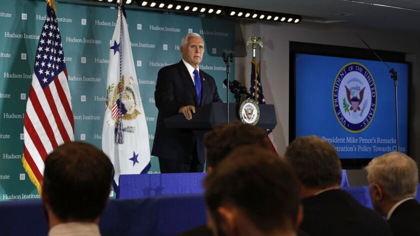 """Vice President Mike Pence speaks at the Hudson Institute in Washington on Oct. 4. Pence said China was using its power in """"more proactive and coercive ways to interfere in the domestic policies and politics of the United States."""""""