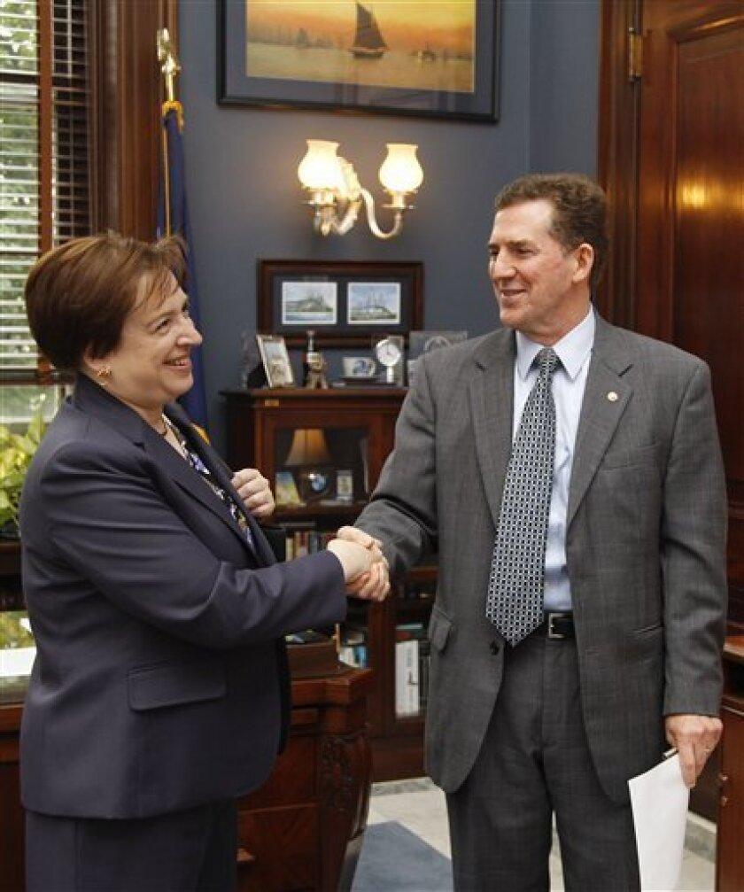 Supreme Court nominee Elena Kagan meets with Sen. Jim DeMint, R-S.C., Wednesday, June 9, 2010, on Capitol Hill in Washington. (AP Photo/Haraz N. Ghanbari)