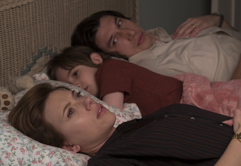"""Scarlett Johansson, left, Azhy Robertson and Adam Driver in """"Marriage Story."""""""