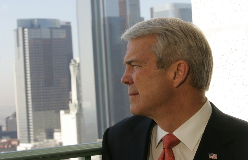 Allan McArtor looks out from Los Angeles City Hall.