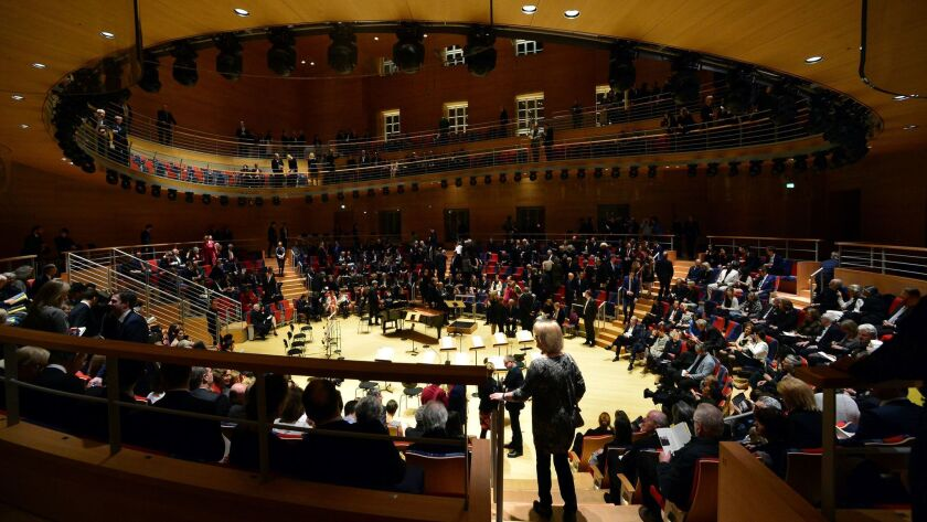 Guests arrive for the opening concert at Pierre Boulez Hall in Berlin.