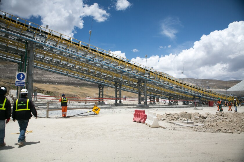 Conveyor belts transport raw material from the Las Bambas open pit to processing facilities.