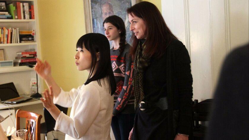CAMBRIDGE, MA - FEBRUARY 5: Marie Kondo, zen tidiness guru speaks in Japanese through an interpreter