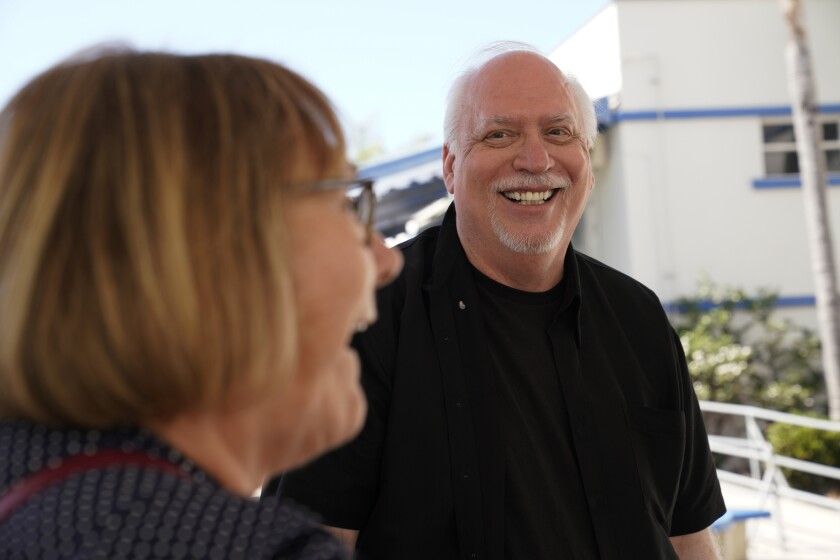 J. Michael Straczynski meets with Rochelle Terry, his former English teacher. 'I know it sounds like b.s., but it's not,' he told her. 'It's all true — the right teacher at the right place can make all the difference.'