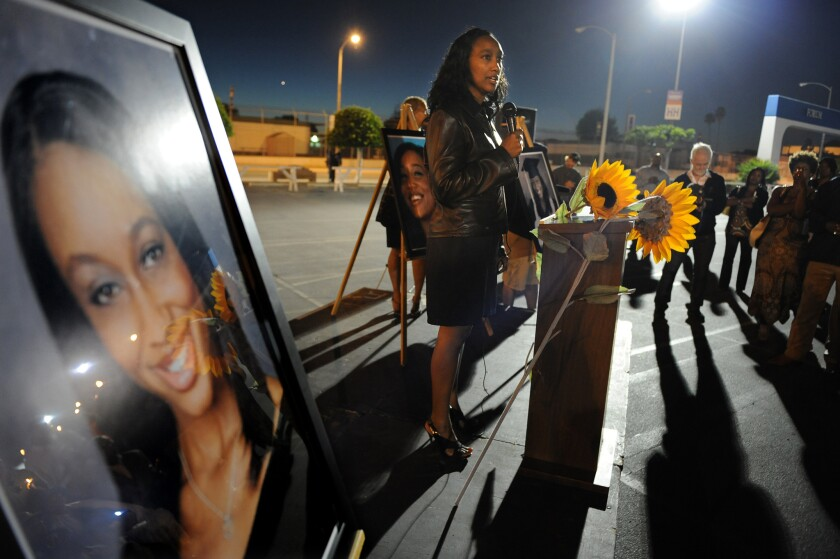 –Latrice Sutton, mother of Mitrice Richardson, speaks about her daughter during a 2010 vigil in Inglewood.