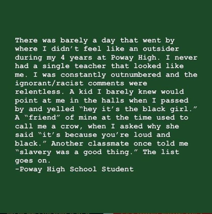 White text on a green background describes a Poway High School student's experience with racism.