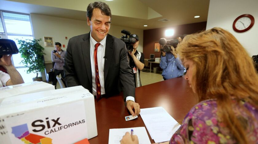 Before his bid to split California into three states, in 2014 Silicon Valley venture capitalist Tim Draper tried to qualify a ballot initiative that would have asked voters to split California into six separate states.