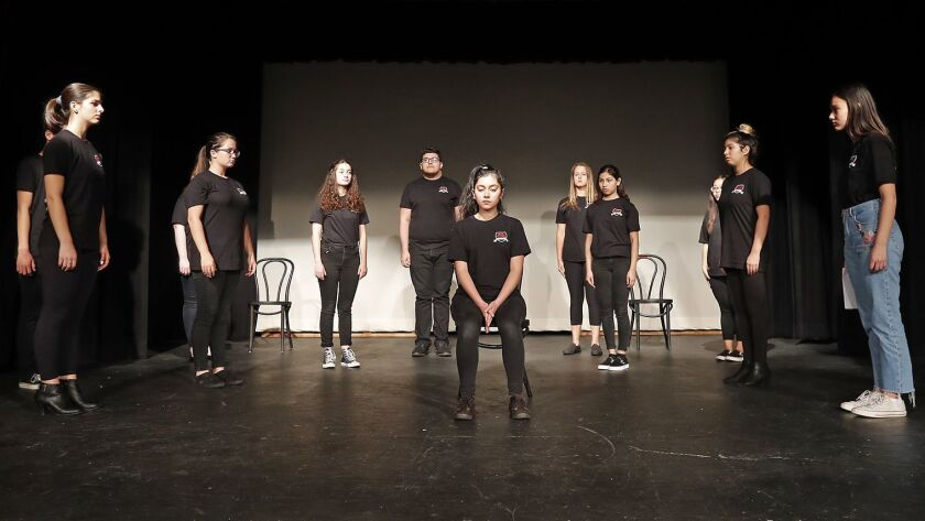 Estancia High School drama students perform a scene during rehearsals for To Whom It May Concern, an