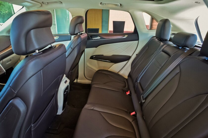 The back seat has good foot and leg room (36.8 inches) with a few inches of seatback recline and a low center tunnel for three-across access.