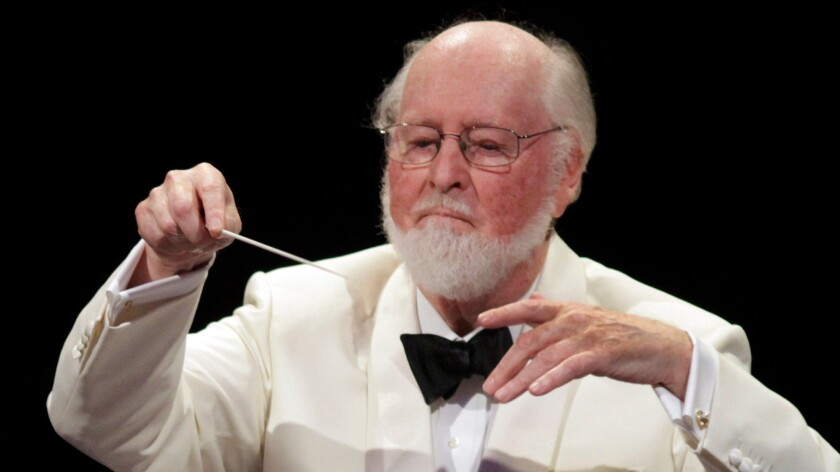 John Williams conducting the LA Phil in a tribute to director Blake Edwards and composer Henry Mancini at the Hollywood Bowl on Aug. 30, 2013.