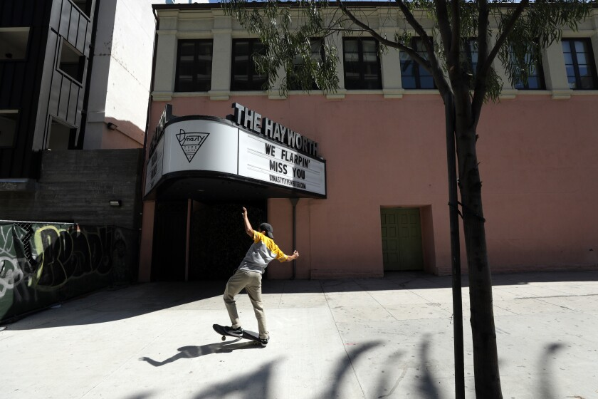 The Hayworth Theatre is in a circa 1927 Spanish Colonial Revival-style complex that also houses La Fonda de los Camperos.