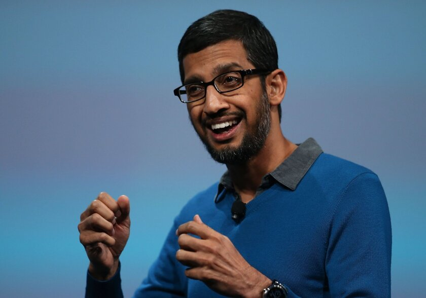 Sundar Pichai, a Google senior vice president being promoted to chief executive, delivers the keynote address during the 2015 Google I/O conference for developers May 28 in San Francisco.