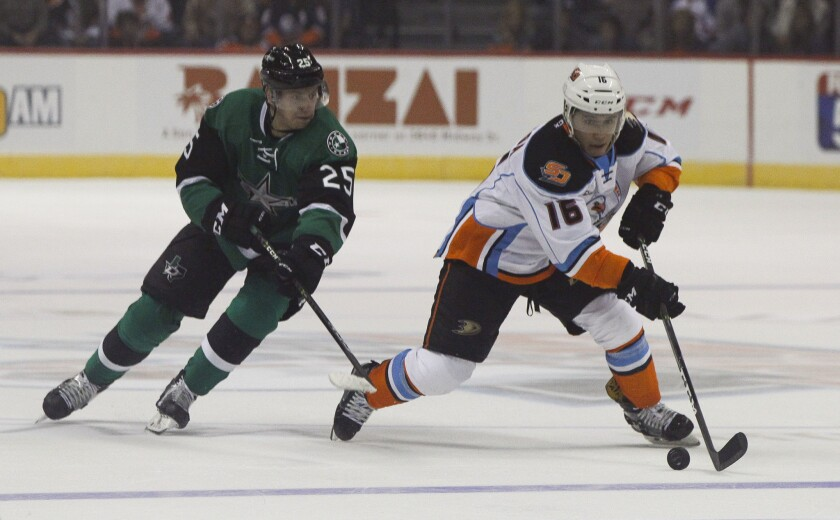 The Gulls battling against the Texas Stars at the Valley View Casino Center in San Diego.