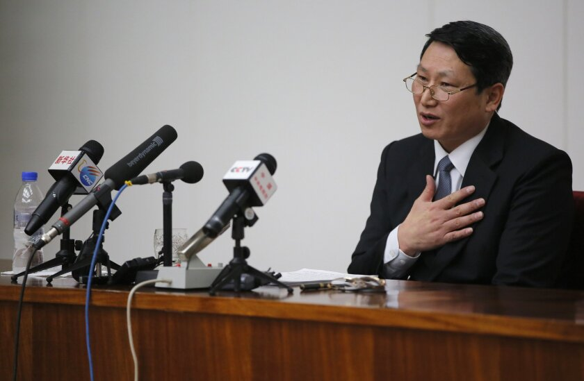 Kim Jung Wook, a South Korean Baptist missionary, speaks during a news conference in Pyongyang, North Korea, Thursday, Feb. 27, 2014. Kim who was arrested more than four months ago for allegedly trying to establish underground Christian churches in North Korea told reporters Thursday he is sorry for his ``anti-state'' crimes and appealed to North Korean authorities to show him mercy by releasing him from their custody. (AP Photo/Vincent Yu)